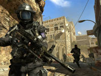 Human ground units patroling a Middle Eastern city neighborhood in Call of Duty: Black Ops II