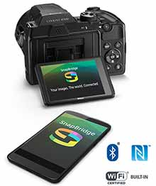 Nikon B500 and smartphone with the SnapBridge logo on the LCDs