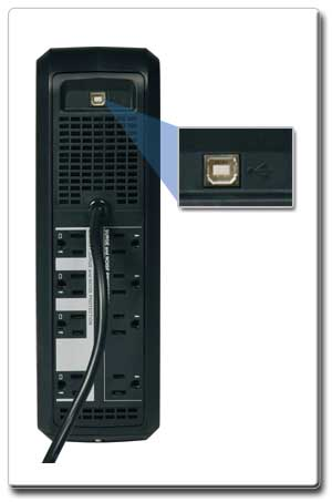 USB Port works with PowerAlert software for network monitoring and control